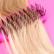 Stock Photo: Long blond hair with brush on pink background