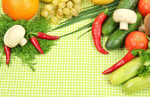 Cooking concept. Groceries on tablecloth background — Stock Photo