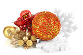 Composition of Christmas balls isolated on white — Stockfoto