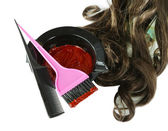 Bowl with hair dye and brush for hair coloring, isolated on white — Stock Photo
