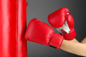 Box training and punching bag, on color background — Stock Photo