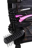 Black belt hairdresser isolated on white — 图库照片