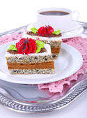 Tasty cakes on plate on tray close-up — Stock Photo
