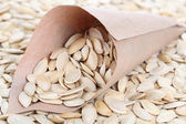 Pumpkin seeds in paper cornet close up — Stock Photo