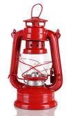 白で隔離される赤い灯油ランプ — ストック写真
