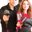 Stock Photo: Young man and woman hairdressers in beauty salon