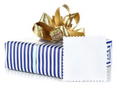 Gift box with blank label isolated on white — Zdjęcie stockowe