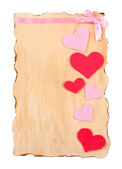 Beautiful sheet of paper with decorative hearts, isolated on white — Foto de Stock