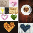 Collage of heart-shaped things — 图库照片