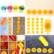 Stock Photo: Collage of colorful buttons