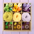 Multicolored skeins of thread and buttons in box closeup — Stock Photo #39028763