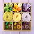 Multicolored skeins of thread and buttons in box closeup — Stock Photo