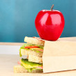 School breakfast on desk on board background — Stock Photo #39030455