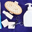 Stock Photo: Hygienic equipments, on color background