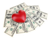 Love and money concept. Heart and American currency isolated on white — Stock Photo