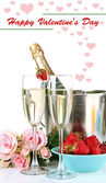 Romantic still life with champagne, strawberry and pink roses, isolated on white — Stock Photo