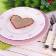 Set of utensil for romantic dinner, on table, on light background — Stock Photo #39041651