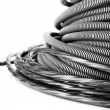 Black cables close-up isolated on white — Stock Photo #39042599