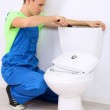 Plumber with toilet plunger on light background — Stock Photo #39047119
