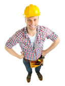 Portrait of young builder isolated on white — Foto de Stock