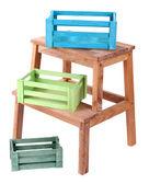 Scatole di legno vuote su piccola scala, isolato su bianco — Foto Stock