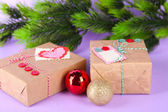 Paper gift boxes on color background — Stock Photo