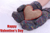 Female hands in mittens with heart on snow background — 图库照片