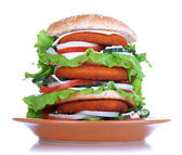Huge burger on color plate, isolated on white — Stock fotografie