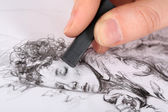 Drawing picture of drawing charcoal isolated on white — Stock Photo