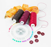 Sewing accessories isolated on white — Stock Photo