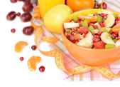 Sweet fresh fruits in bowl on table close-up — Foto de Stock