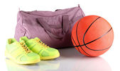 Sports bag with sports equipment isolated on white — Stok fotoğraf