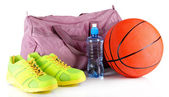 Sports bag with sports equipment isolated on white — 图库照片