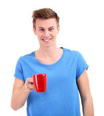 Portrait of handsome young man with cup, isolated on white — Photo