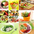 Stock Photo: Collage of different salads