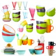 Colorful cups isolated on white — Stock Photo