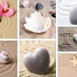 Collage of zen garden with sand and stones — Stock Photo #39160461
