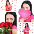 Stock Photo: Collage of beautiful girl on Valentine's Day