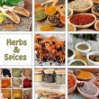 Stock Photo: Collage of herbs and spices
