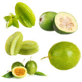 Green exotic fruits, isolated on white — Stock Photo