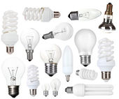 Collage of light bulbs isolated on white — Stock Photo
