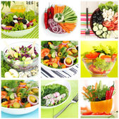 Collage of vegetarian salads — Stock Photo