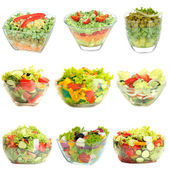 Collage of vegetable salads isolated on white — Stock Photo