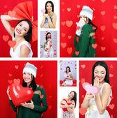 коллаж из красивой девушки на день святого валентина — Стоковое фото