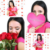 Collage of beautiful girl on Valentine's Day — Stock Photo