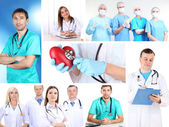 Collage of medical staff in working environment — Stockfoto