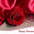Beautiful red rose and silk fabric on wet grey background — Stock Photo #39278365