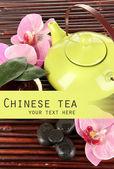 Cerimônia do chá chinês em close-up tabela de bambu — Foto Stock