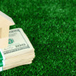 Wooden house on packs of dollars on grass close-up — Stock Photo