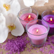 Stock Photo: Composition with beautiful colorful candles, sea salt and orchid flowers, on wooden background